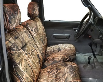 Muddy Water Camo Seat Cover for Toyota Tacoma 1995 - 2000 Front 60/40 Split Bench A67 Adjustable Headrest