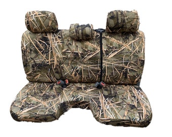 Camoflague Seat Cover for Toyota Tacoma A30 Adjustable 3 Headrest Large Notched Cushion Bench Camo