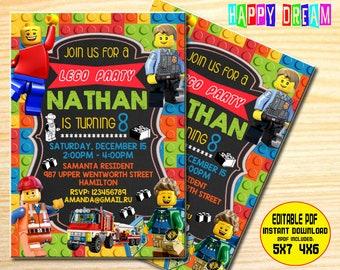 Lego invitation etsy lego invitation lego birthday invitation lego party lego birthday party boy lego invitation girl lego invitation lego stopboris Images