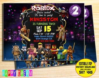 Roblox Invitation Birthday Invite Party Chalkboard Invitations Personalized You Printeditable PDF Files