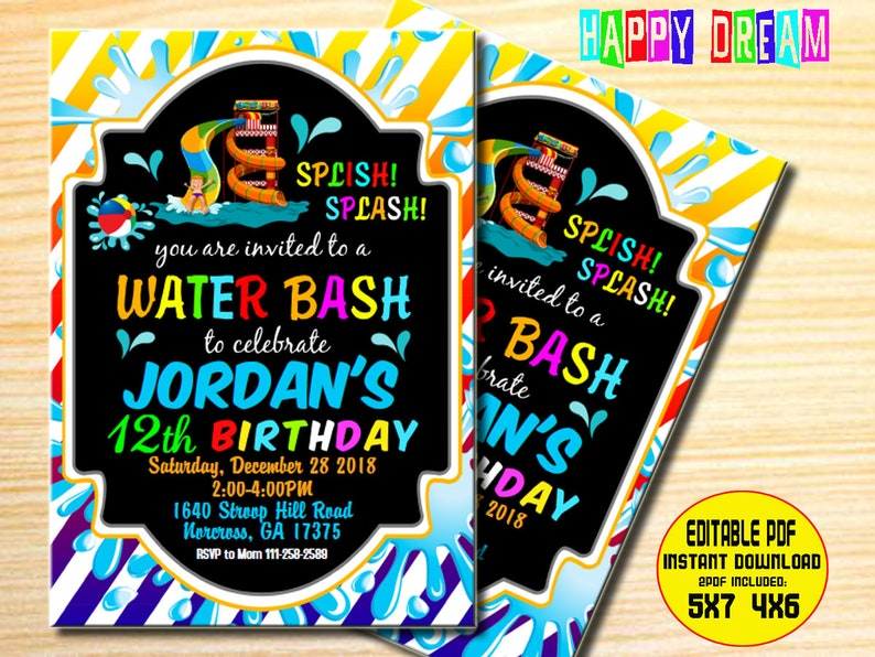 Water Slide Birthday Invitation Water Slide Party Invitation