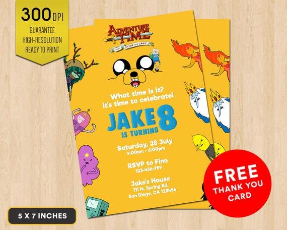 Adventure Time Birthday Invitation Adventure Time With Finn Etsy