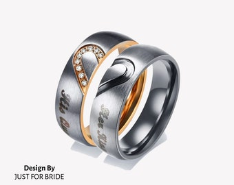 c819941603 Custom Engraving Her King & His Queen Heart Stainless Steel Couples Ring Set  Engagement, Lovers, Promise Band