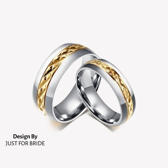 Wedding Rings For Women Men Stainless Steel Silver And Gold Etsy