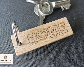 """Keychain """"HOME"""" made of wood, lasered"""