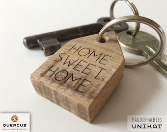 """Keychain """"Home Sweet Home"""" wooden house, lasered"""