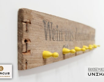 """Hook bar """"Wine & Games"""" yellow from old wooden wine box (as a key board, towel rack or jewelry holder)"""
