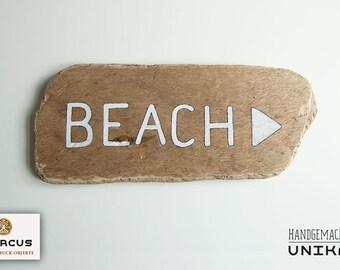 BEACH -> sign made of driftwood