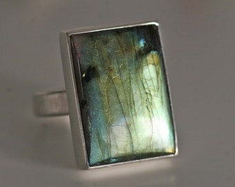 solitaire ring cabochon big stone Ring in massively sterling silver with Labradorite rectangle by Frank Schwope rectangle unique Labradorite