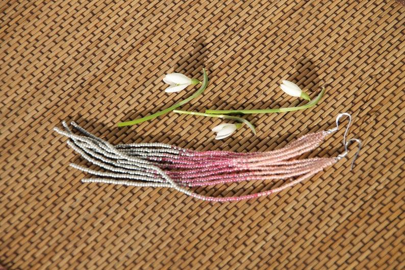 peach pink and grey color seed beads Long Beaded Boho Earrings Native American Style Beaded Earrings