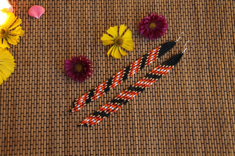 Native American Style Beaded Earrings Tribal Chandelier Earrings long earrings Handmade