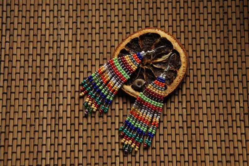 Hippie  Seed Bead Earrings Native American Inspired Bead Work,colorful earrings Boho earrings