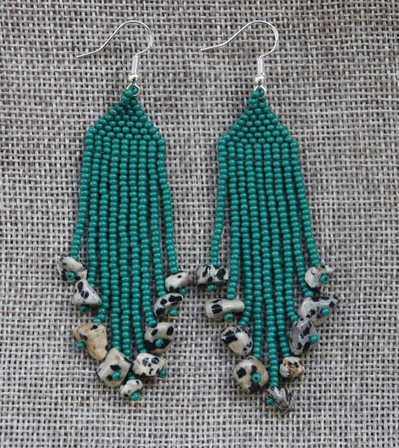 green seed beads Beaded Earrings Handmade earrings Native American Style Beaded Earrings