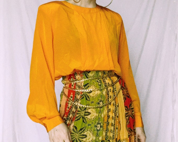 Vintage 80s | Bright Orange Blouse