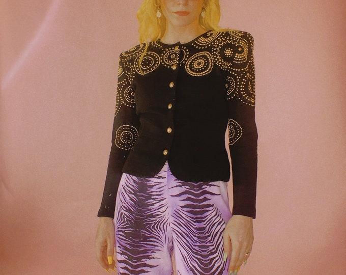80s Black Wool Gold Stud Knit Blazer