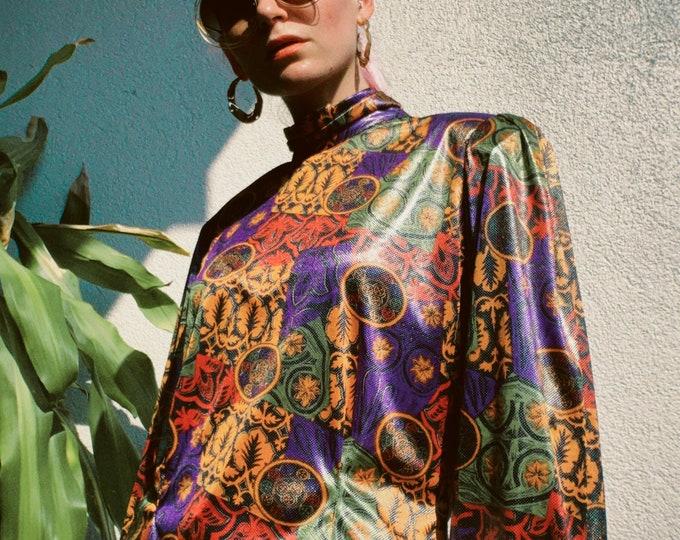 VTG 80s Metallic Printed Blouse