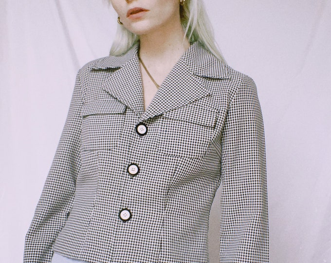 Vintage 90s | B/W Gingham Shirt/Jacket