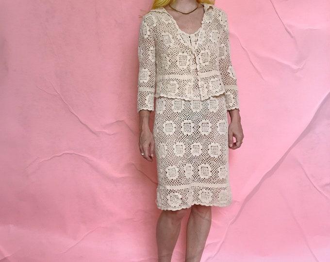 Cream Crochet Dress Set