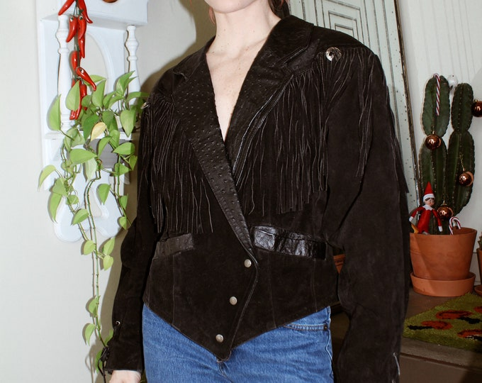 80s Suede/Leather Fringe Jacket
