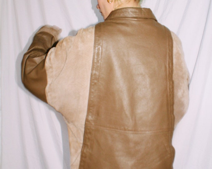 Vintage 80s | Taupe Block Leather & Suede Jacket