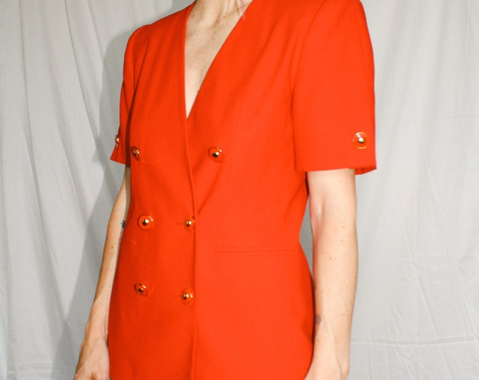 Vintage | Red Double Breasted Short Sleeve Blazer