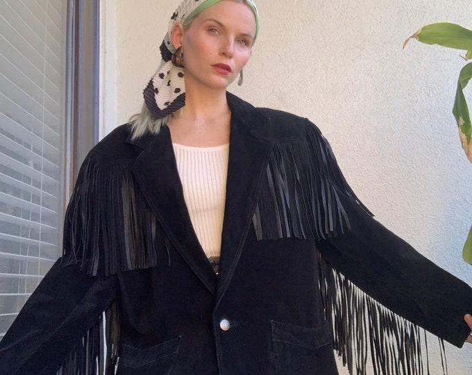 Vintage 80s | Black Suede Fringe Blazer