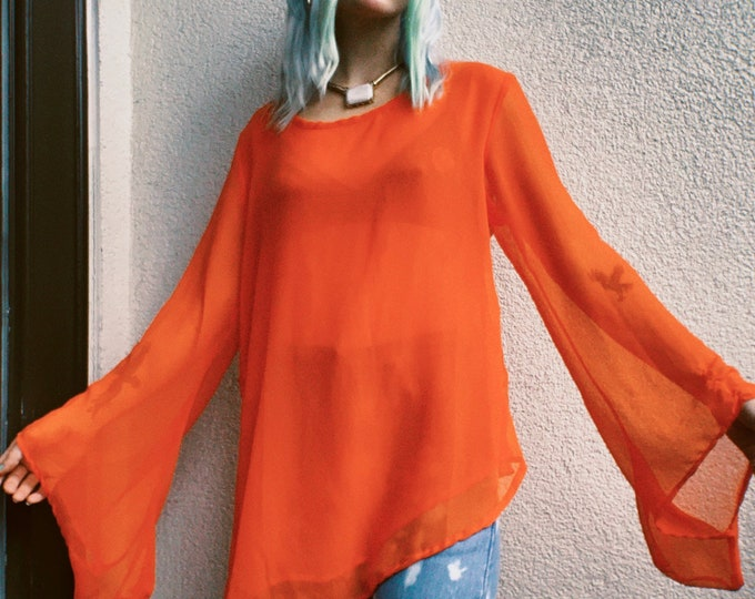 Vintage 90s | Orange Sheer Tunic