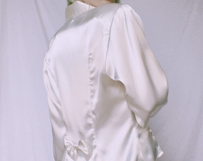 Vintage 90s | White Poly Satin Blouse