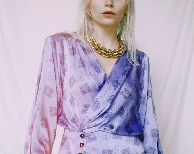 Vintage 80s | Lilac Printed Satin Blouse
