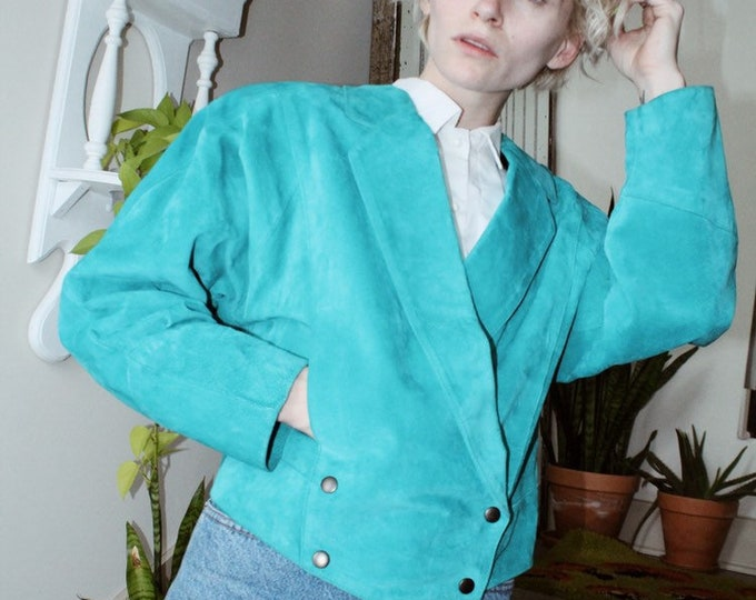 Turquoise Suede Bomber