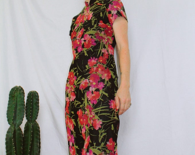 Vintage 90s | Floral/Polka Dot Lined Maxi Dress