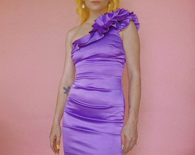 90s Purple Satin One Shoulder Bodycon Dress