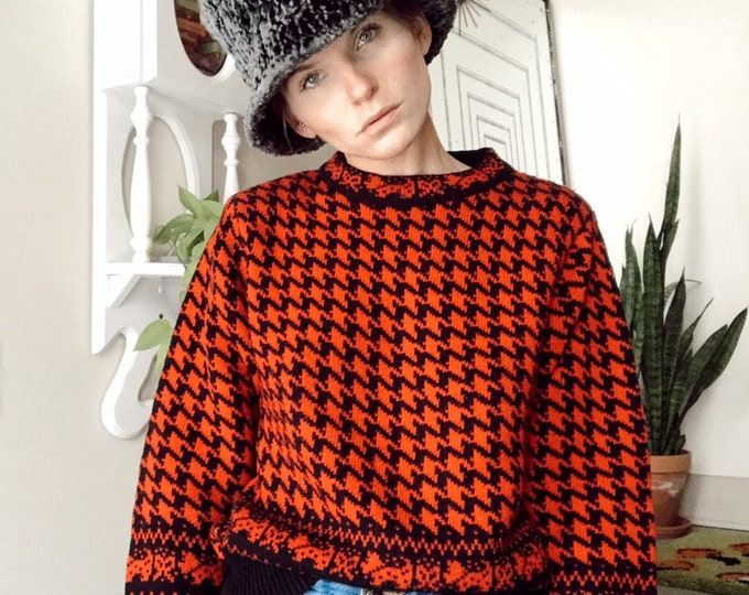 Houndstooth Pullover Sweater
