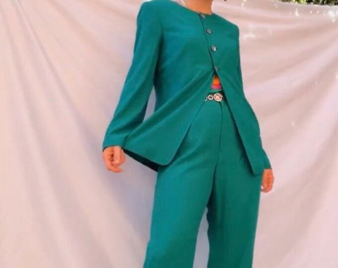 Vintage 90s | Turquoise Silk Suit