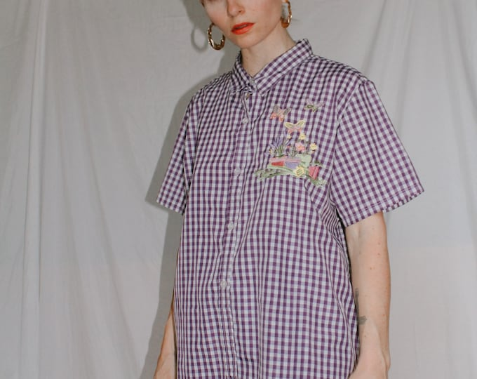 Vintage 90s | Purple Gingham Blouse with Potted Plants and Butterfly