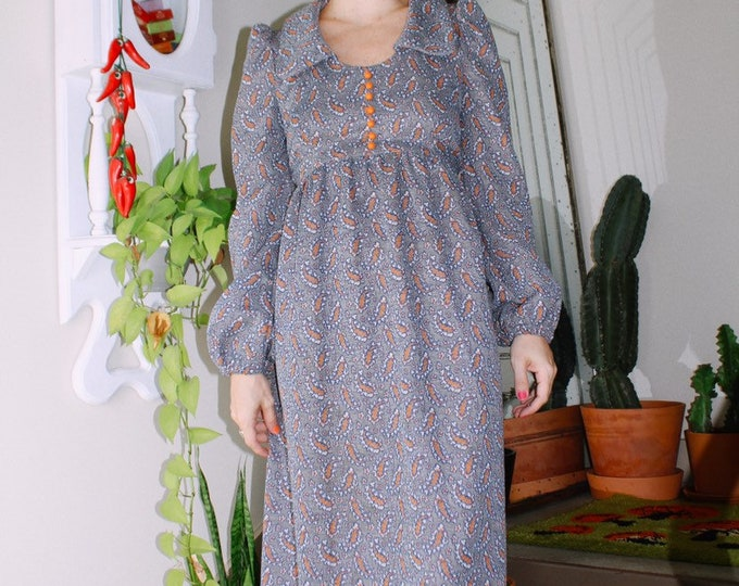60s Paisley Print Long Sleeve Dress
