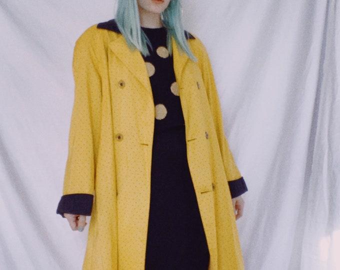 Vintage 80s | Yellow/Black Dot Coat