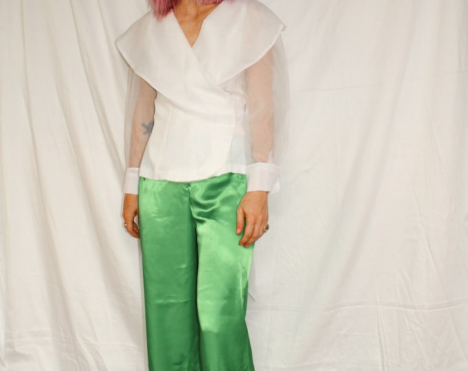Vintage | Green Satin Pants