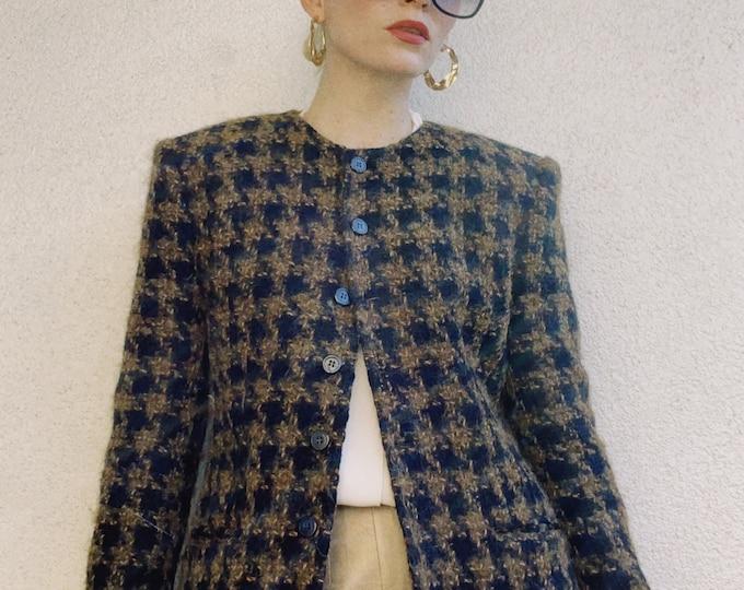 Vintage 90s | Wool Mohair Houndstooth Tweed Blazer