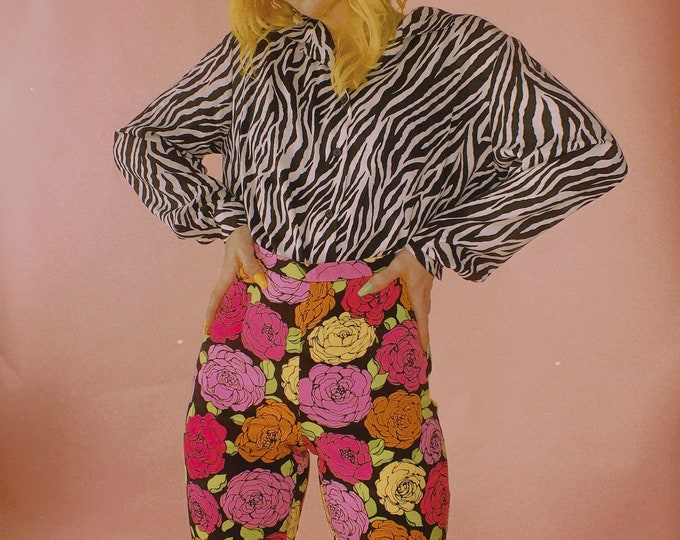 90s Zebra Print Blouse