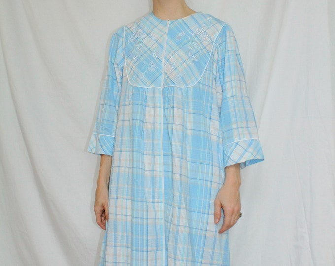 Vintage | Baby Blue Plaid Mumu Housecoat