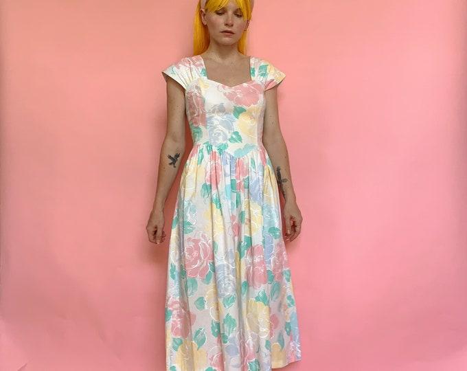 80s Floral Cotton Fit & Flare Dress