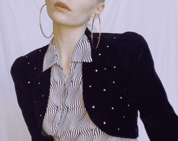 Vintage 90s Zum Zum Black Velvet Bolero with Rhinestones