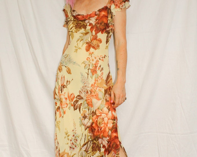 Vintage | 90s Butter Yellow Floral Dress