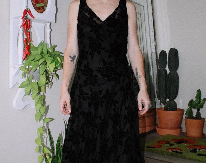 Black Velvet Floral Dress