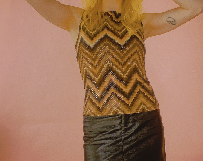Y2K Chevron Clear Sequined Tank