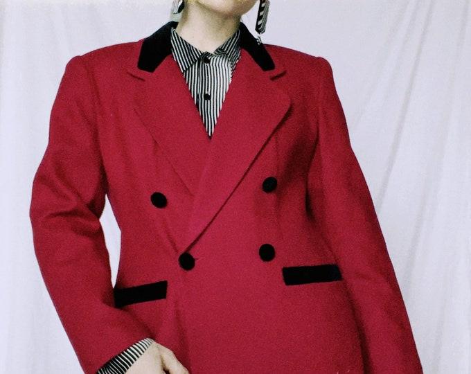 Vintage 80s | Magenta Wool Blazer with Velvet Trim