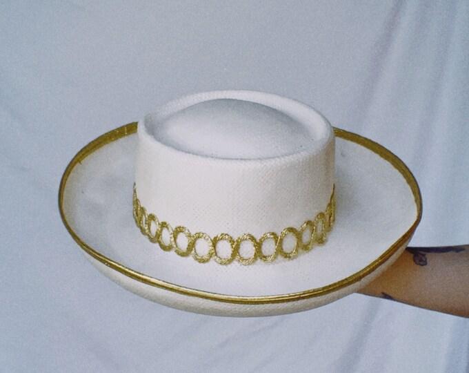 Vintage 80s | Cream/Gold Trim Straw Hat