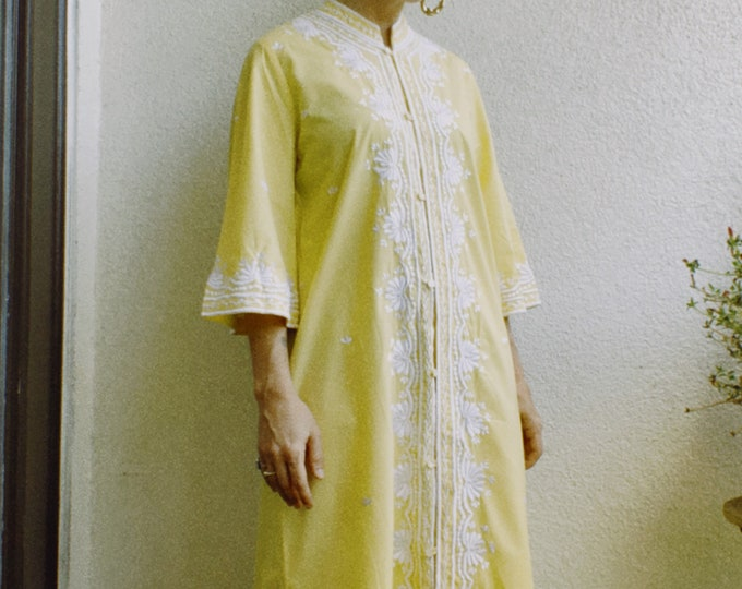 Vintage 70s | Embroidered Cotton Dress