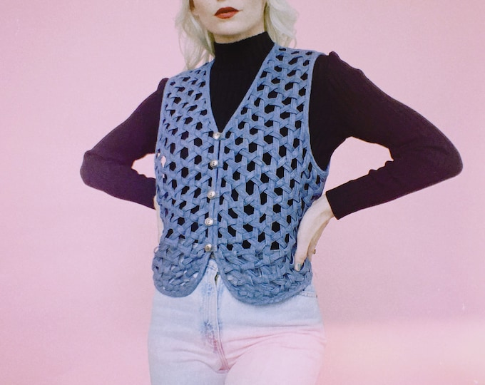 Vintage 80s Open Weave Denim Vest